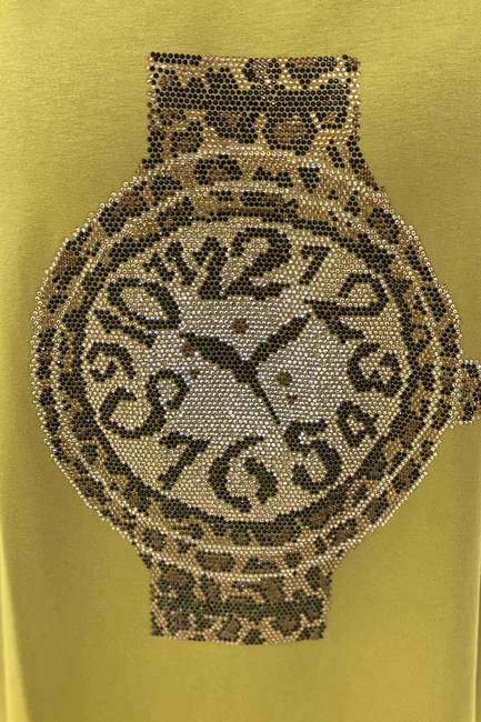 Oversize Saat Detaylı Duble Kol Kadın Penye - Fıstık Yeşil - Thumbnail