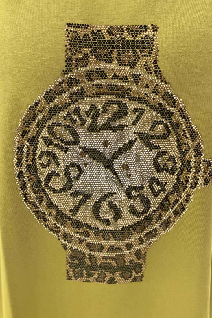 Oversize Saat Detaylı Duble Kol Kadın Penye - Fıstık Yeşil